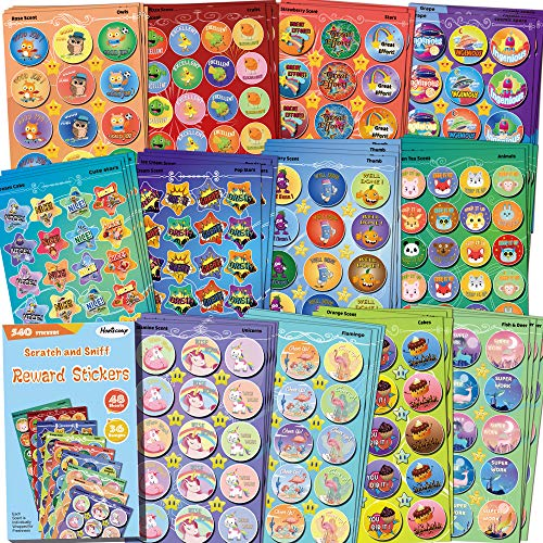 HORIECHALY Smelly Stickers for Kids - 48 Sheets Reward Stinky Stickers