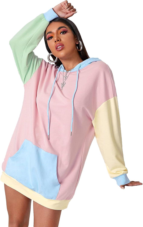 MakeMeChic Women's Colorblock Pocket Front Long Sleeve Drawstring Hooded Sweatshirt Dress