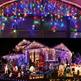 Led Christmas Lights Outdoor Christmas Decorations Hanging Lights 400LED 8 Modes 75 Drops, Outdoor Indoor Fairy String Lights for Party, Holiday, Wedding Decorations (Multicolor)