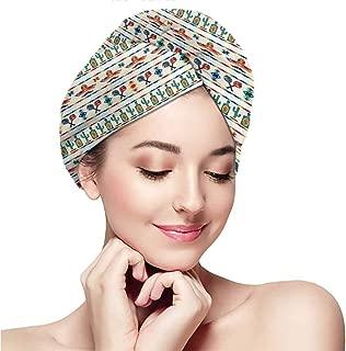 Women's silky double satin sleep cap with premium elastics.Mexican,Latin American Cultural Native Borders Indigenous Saguaro Sombrero Tequila Bottle,Multicolor