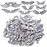 100g Antique Silver Angel Wing Spacer Beads Tibetan Alloy Fairy Wing Charm Beads Wing Bead Spacer Craft Supplies for DIY Necklace Bracelet Jewelry Making, 8 Styles