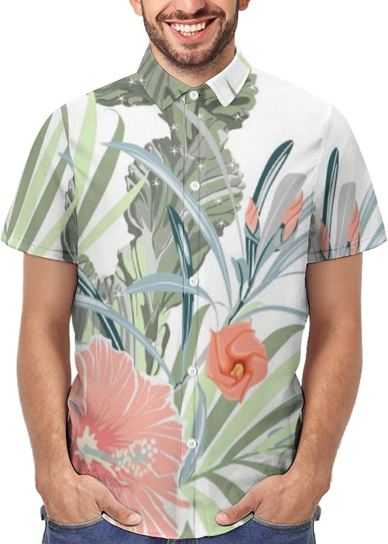 YURASIKU Men Hawaiian Shirts Short Sleeve Printed Jungle with Toucan Slim Fit Big & Tall Casual Beach Shirt