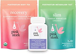 Pink Stork Recovery Bundle: New + Improved! Total Postnatal, Recovery Tea, and Slim Tea to Support Healthy Postpartum Recovery with Herbs + Vitamins