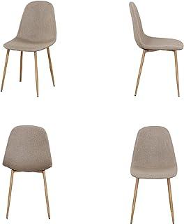 N/A Juego de 4 sillas de Cocina con cojín de Tela sillas Laterales con Patas de Nogal para sillas de Comedor en la Cocina (Caqui)