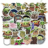 Pegatinas Pack de Baby Yoda 50 unidades, pegatinas para película Star Wars The Mandalorian, Cool Trendy vinilo impermeable