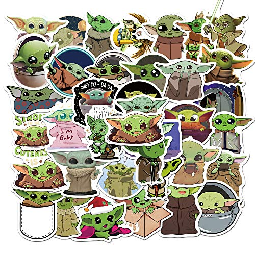 AnvFlik Stickers Pack of Baby Yoda 50 pcs, Stickers for Movie Star Wars The Mandalorian,Cool Trendy Vinyl Waterproof Bomb Sticker for Laptops,Adult, Teen, Computers, Hydro Flasks, Water Bottles