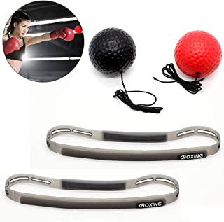 Domipro Boxing Reflex Ball Set, Great for Hand Eye Coordination, 2 Training Speed Levels Boxing Ball with Headband, Perfect for Reaction, Agility, Punching Speed, Fight Skill, Easy to Kids and Adults