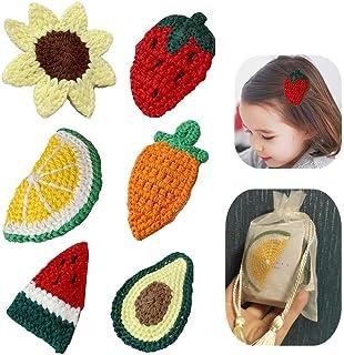 Baby Girls Woven Cute Hair Clips, Fruit Woven Bangs Bb Clip Children Girl Style Wool Woven Hair Clip, Side Clip Hair Cli...