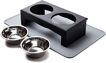 XKX Elevated Dog Bowls for Small & Medium Dogs, Stainless Steel Dog Food and Water Bowls with Stand and Silicone Mat, Rais...