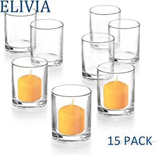 Elivia Clear Votive Candle Holder - Set of 15, Tealight Candle Holder Glass Cup for Wedding or Home Decor