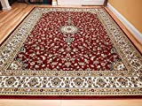 Large 8x11 Area Rug for Living Room Burgundy 8x10 Traditional Rug for Dining Room Red Rugs