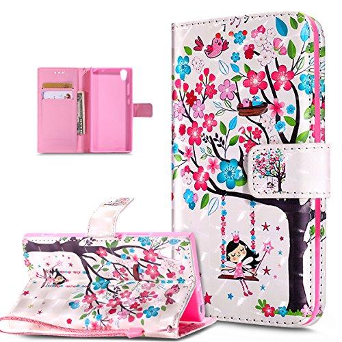 Kompatibel mit Schutzhülle Sony Xperia XA1 Hülle Handyhülle,3D Bunte Gemalte Schmetterlings Muster PU Lederhülle Flip Ständer Wallet Handy Hülle Tasche Handy Tasche Schutzhülle,Rosa Blumen Baum Vögel