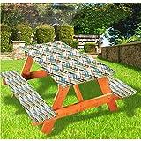 Lewis Franklin - Conjunto de fundas para mesa plegable, mantel para mesa de picnic de lujo, diseño de paisaje exótico, borde elástico, 71 cm x 182 cm, 3 piezas