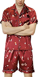 Pajamas Men's Short Sleeve V-Neck Print Silk Pajama Set Comfortable Sizes Two Piece Summer Fashion Vintage Loose Casual So...