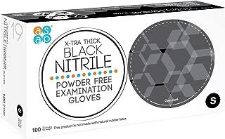 ASAP Black Nitrile Powder Free Examination Gloves, Disposable, 4 mil, Black (Small - Box of 100)