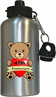 Happy 47th Anniversary Water Bottle Silver