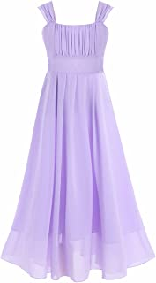 FEESHOW Girls' Chiffon Flower Dress Junior Bridesmaid Wedding Party Graduation