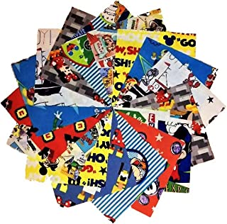 MICKEY MOUSE ~ 100/% COTTON FABRIC PATCHWORK SQUARES PIECES CHARM PACK 5 INCH