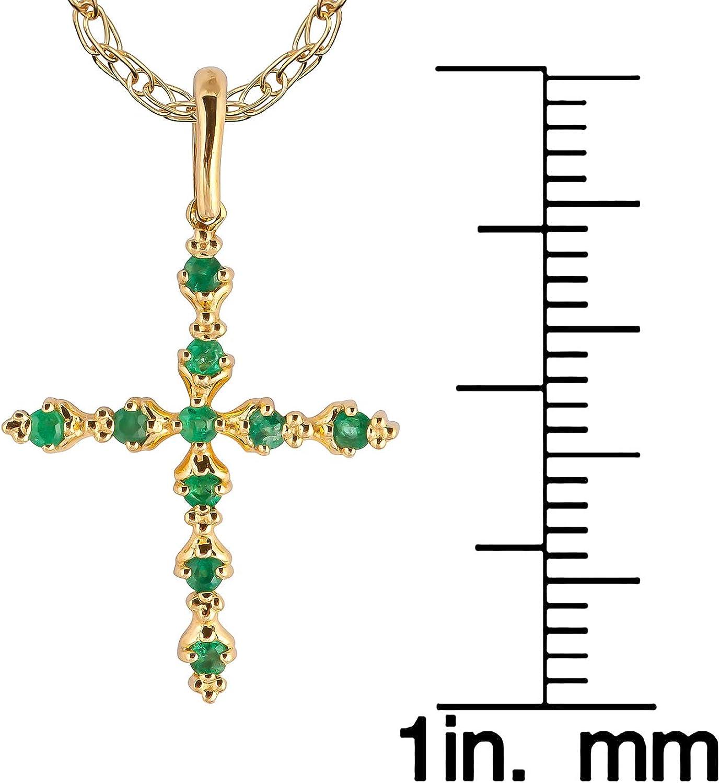 10k Yellow Gold Genuine Emerald Cross Pendant Necklace