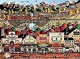 ggdyy Rompecabezas de Paisaje de 1000 Piezas, Sleepy Town Western Puzzle para Adultos, Rompecabezas de Madera, Juguetes, para Juegos de Inteligencia de Ocio, Regalos