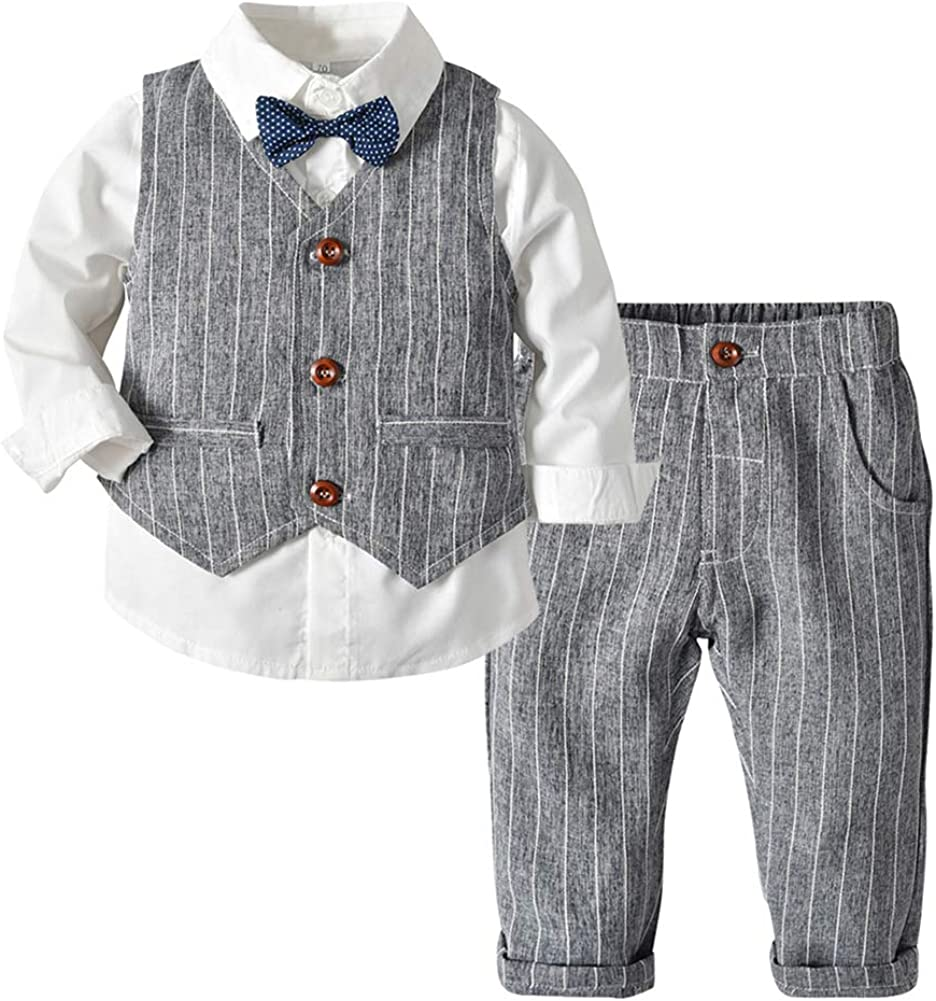 Boy's 3 Superlatite Pieces Dress Suit Set B Striped Toddler Shirt Pants Large-scale sale Vest