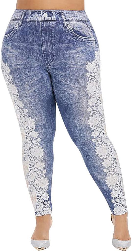 Handyulong Womens Plus Size Jeans Stretch Skinny Ripped Denim Pants Destroyed Slim Pencil Pants Jegging Sweatpants