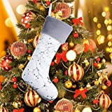 21 Inches Christmas Stocking with Grey Cuff Plush Triple Layers Gift White Christmas Stocking Stuffers Xmas Stocking Holders for Holiday Party Mantel Ornament Decor one Piece