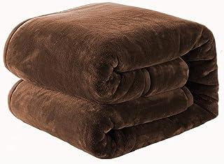 NEWSHONE 毛布 掛け毛布 シングル 二枚合わせ 140x200cm 厚手 ブランケット 秋冬用 暖かい もうふ マイクロファイバー 襟付き 洗える ふわふわ 静電防止 (ブラウン)