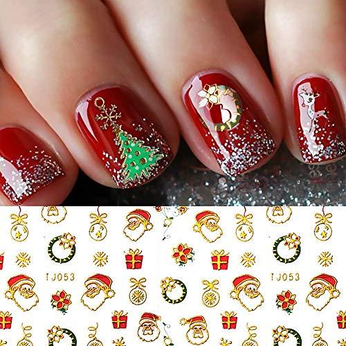 Christmas Nail Stickers - PrettyDiva 3D Metal Design Self-Adhesive Nail Decals Snowflakes Snowmen Santa Xmas Tree Nail Art Stickers Tips Stencil DIY Decoration for Women Kids(10 Sheets)