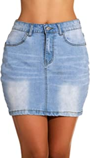 GUANYY Women's Casual Short Stretch Denim Skirt Mini Denim Skirt