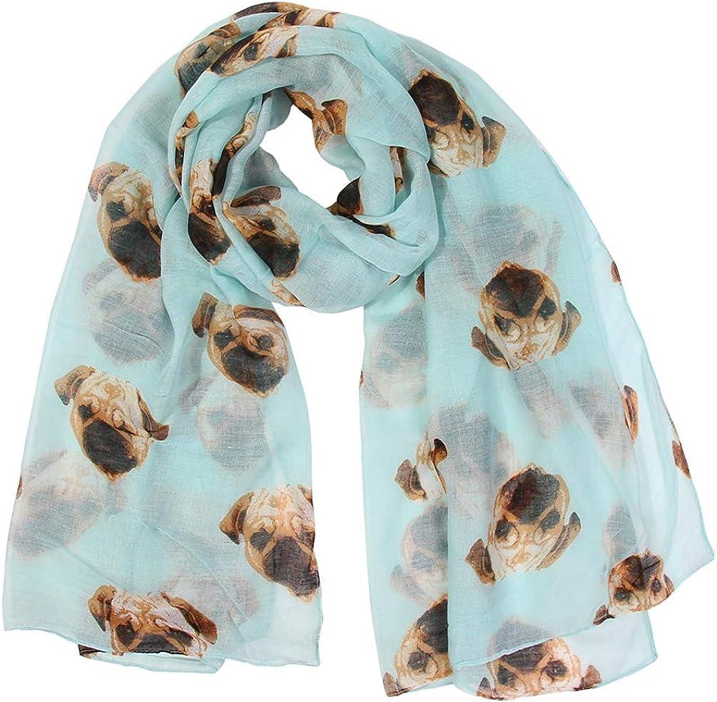 Sannea Womens Cute Pug Printed Slik Scarf Fashion Scarves Wrap for Girls