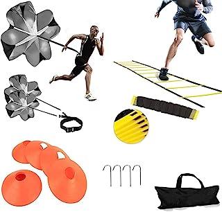 کیت آموزش سرعت XINXIANG Speed-Agility شامل نردبان چابکی ، 5 مخروط تمرین ، چتر نجات ، 4 چوب فلزی