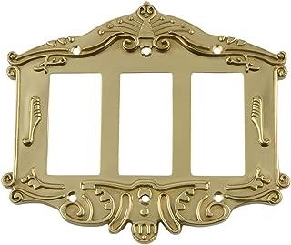 Nostalgic Warehouse 719943 Victorian Switch Plate with Triple Rocker,  Polished Brass