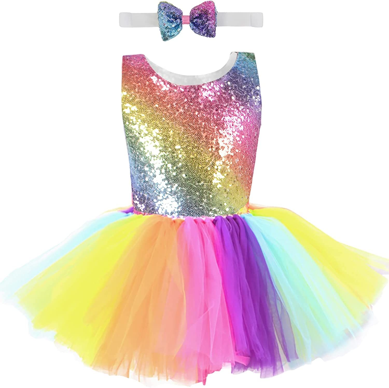 CAMLAKEE Girls Sequin Tutu Dress Toddler Rainbow Tulle Dress Princess Ball Gown