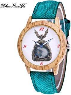 SuSip Halloween Decorations Quartz Casual Watch Crystal Bat Blue Needle Wood Grain Watches Casual Watch New