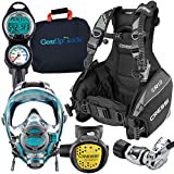Cressi / Ocean Reef Full-Face Mask Scuba Gear Package with GupG Reg Bag, Emerald MD