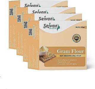 Sejvan Gram Flour Skin Whitening Soap 100 gm(Pack of 4) For Skin Whitening, Enriched with Gram Flour Extract, Kojic Acid A...