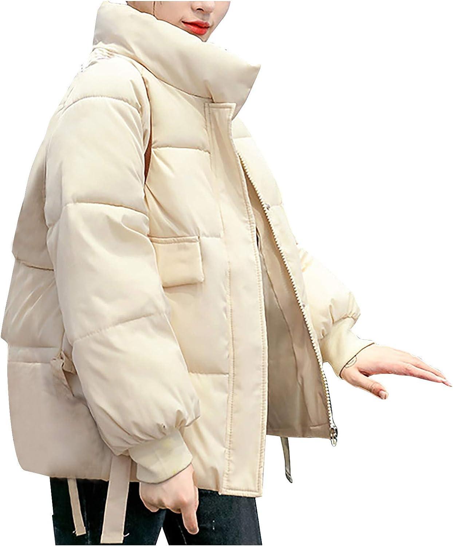 Moxiu Women's Short Stand Collar Coat Warm Winter Slim Outwear Parka Thickened Jacket Hooded