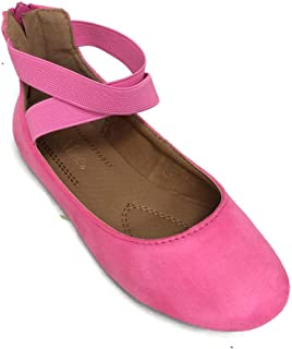 e0d26aea94b ANNA Girl Kids Dress Ballet Flat Elastic Ankle Strap Faux Suede Shoes