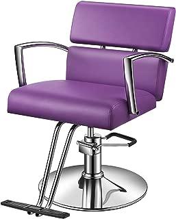 Baasha Purple Salon Chair, Hair Stylist Chair with Hydraulic Pump, Purple Styling Chairs for Salon, Salon Barber Chair for Hair Cutting, Hydraulic Styling Chair, Salon Equipment