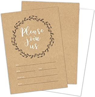 Rustic Fill-in Invitations with Envelopes, Perfect for Bridal Shower, Baby Shower, Wedding Rehearsal Dinner, Birthday Part...