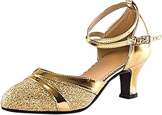 Mujeres&Niña Zapatos Latinos de Baile salón Casuales Zapatillas Hebilla Romanas Calzado de Danza para Mujeres Zapatos Vest...