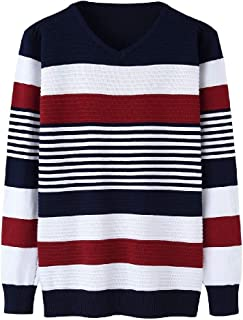 VividYou Men Long Sleeve Thin Knit V-neck Striped Stitching Fitted Tunic Sweater