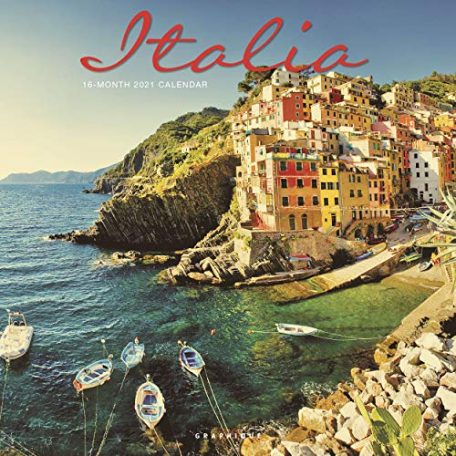 "Graphique Italia Wall Calendar, 16-Month 2021 Wall Calendar with Historic Italian Landmark Photographs, 3 Languages & Major Holidays, 2021 Calendar, 12"" x 12"" (CY65121)"