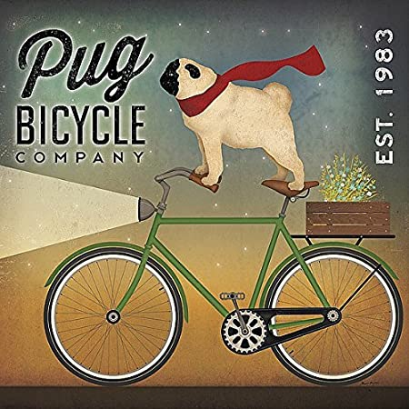 Picture Peddler Pug On A Bike By Ryan Fowler Vintage Ads Animals Dogs Pets Print Poster 24x24 Posters Prints Amazon Com