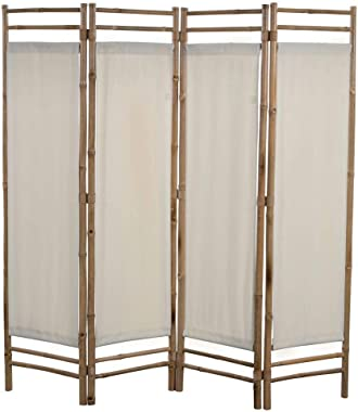vidaXL Folding 4-Panel Room Divider Sturdy Versatile Bathroom Bedroom Partition Privacy Screen Bamboo and Canvas 63""