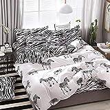 Cranky Orange a7 Zebramuster Bettwäsche-Set Bettwäsche Bettbezug Bettlaken Kissenbezüge-Set für 1,2/1,5/1,8/2 / 2,2 m Bett, für 1,2 m breites Bett