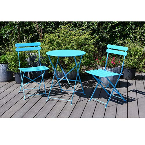 mano Garden Balcony Sets 1 Table and 2 Chairs Outdoor Dining Camping Furniture Folding Wrought Iron Table Chairs for Patio Courtyard Home Living Room Picnic Terrace(3 Pieces) (Blue)