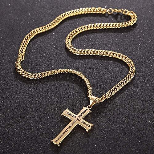 CAISHENY Collar Hombre S Collar de Oro Collar con Colgante de Cruz de Acero Inoxidable Verso de la Biblia con Cadena de bordillo 60Cm