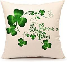 4TH Emotion St. Patricks Day Green Home Decor Throw Pillow Case Cushion Cover 18 x 18 Inch Cotton Linen(Saint Patricks Lucky Clove)
